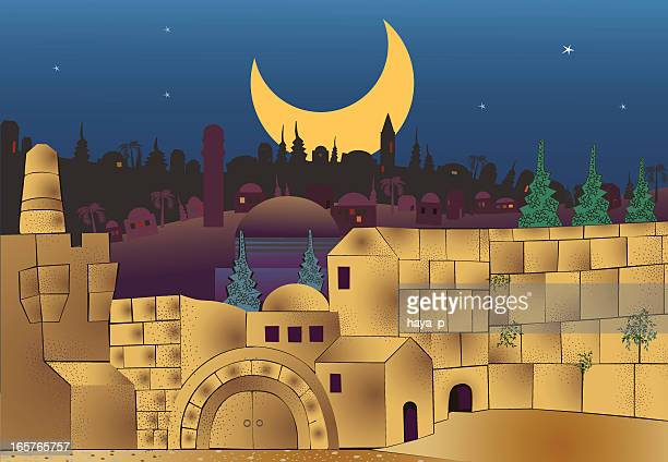 middle eastern city at night - jerusalem stock illustrations, clip art, cartoons, & icons