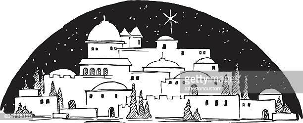 middle eastern city by night - bethlehem west bank stock illustrations