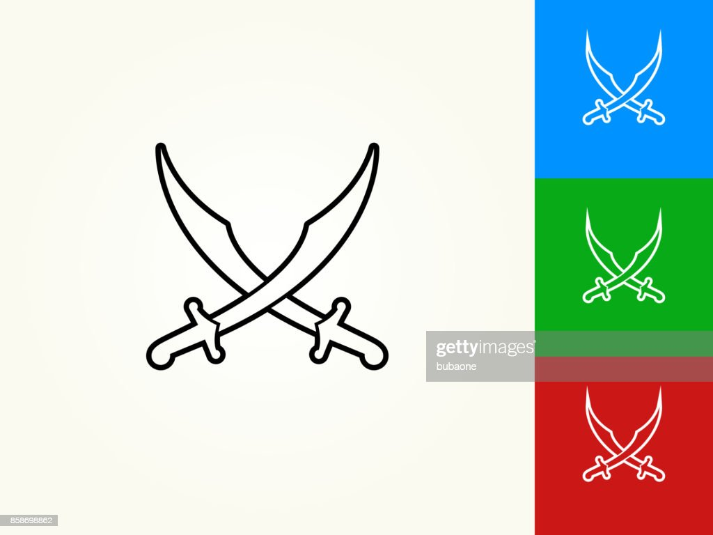 Middle Eastern Swords Black Stroke Linear Icon Vector Art Getty Images