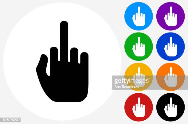 middle finger hand icon on flat color circle buttons - obscene gesture stock illustrations, clip art, cartoons, & icons