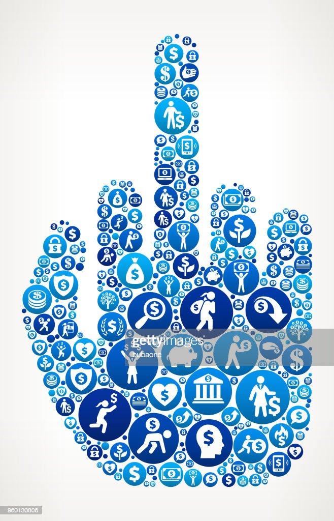 Mittelfinger Hand Geld blaues Symbol Muster Hintergrund : Stock-Illustration