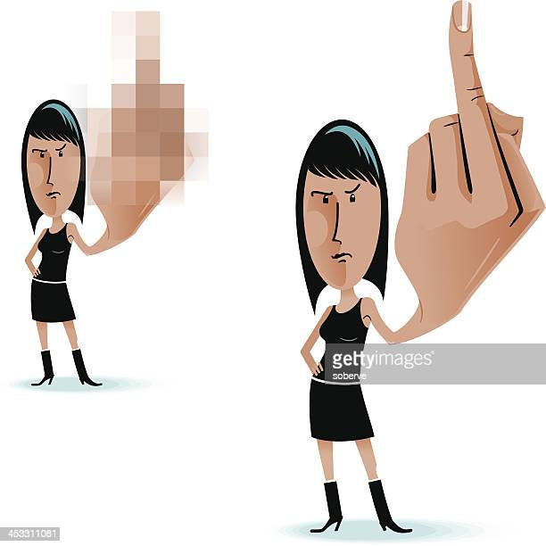 middle finger woman - obscene gesture stock illustrations, clip art, cartoons, & icons