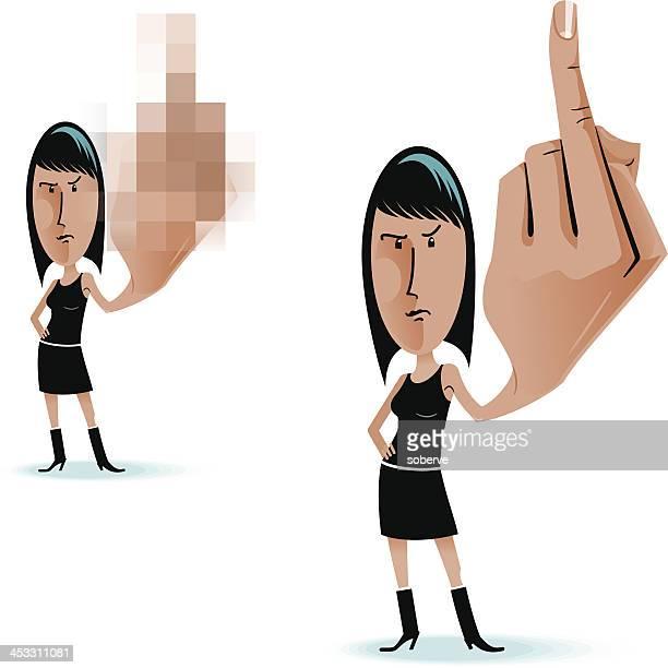 illustrations, cliparts, dessins animés et icônes de doigt du milieu femme - doigt dhonneur