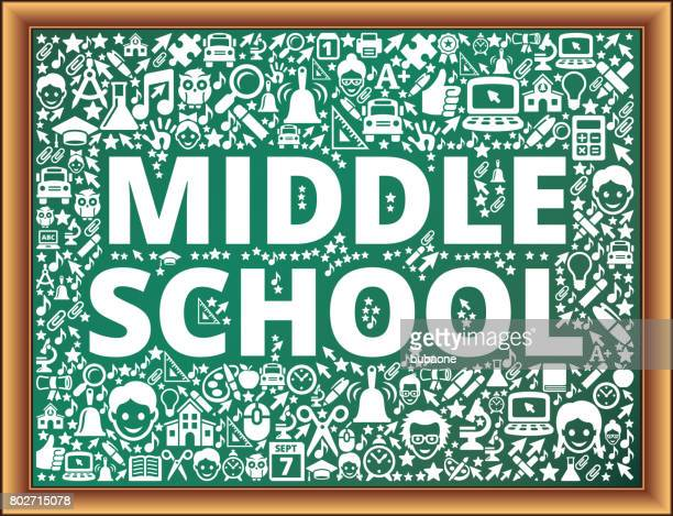 middle school school and education vector icons on chalkboard - icon collage stock illustrations