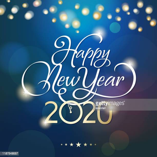 midnight countdown to 2020 - new year's eve stock illustrations