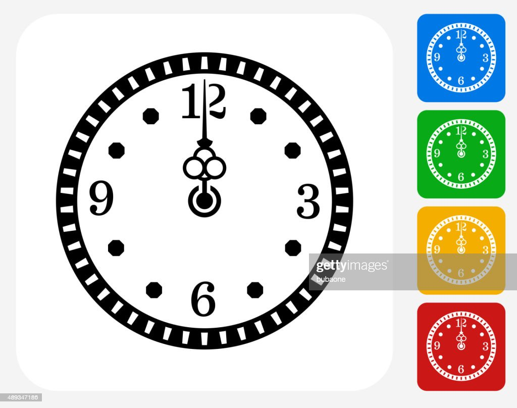 Midnight on Clock Icon Flat Graphic Design
