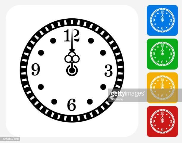 midnight on clock icon flat graphic design - midnight stock illustrations