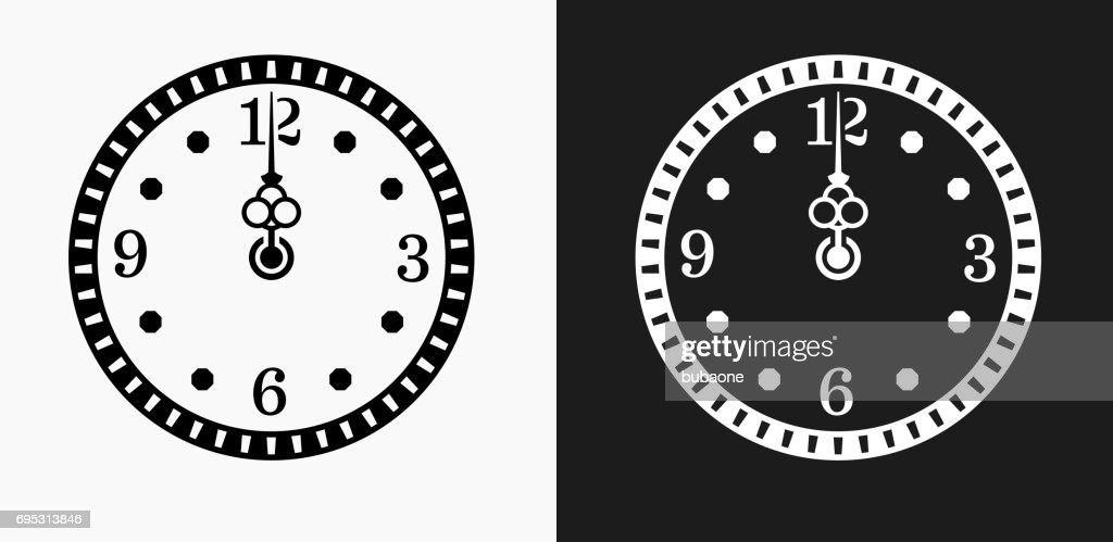 Midnight On Clock Icon On Black And White Vector Backgrounds