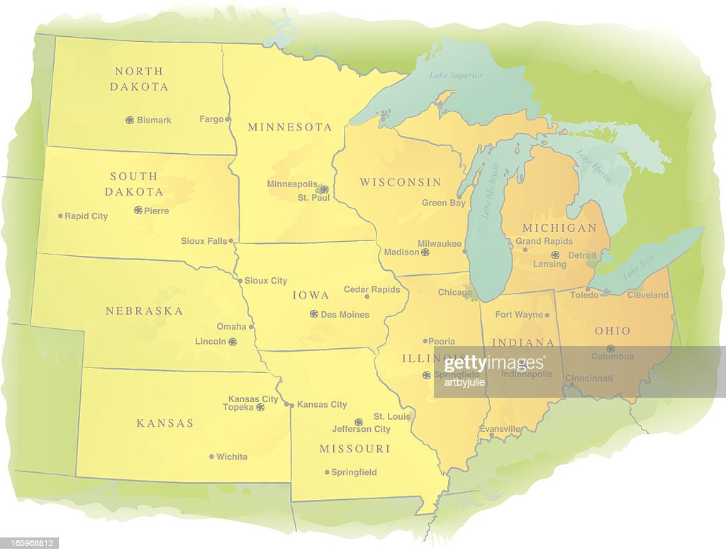 Midwestern USA State Map - Watercolor Style