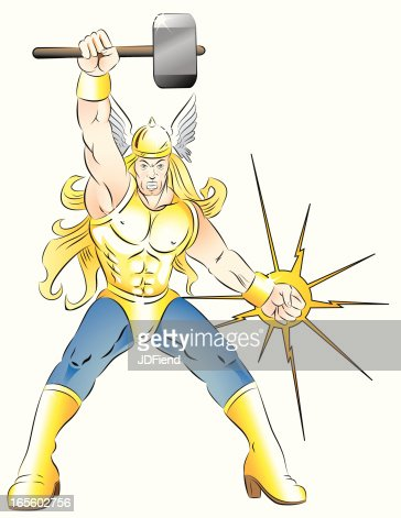 mighty hammer of thor vector art getty images