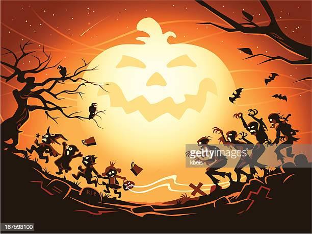 mighty pumpkin - halloween wallpaper stock illustrations