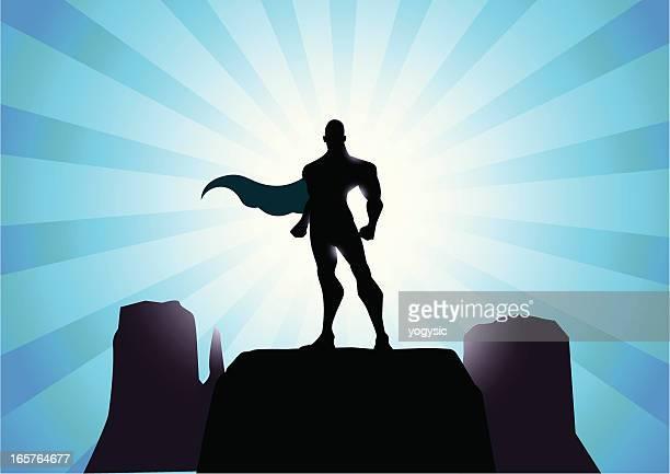 mighty superhero silhouette - superman stock illustrations