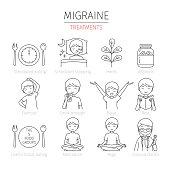 Migraine Treatment Outline Icons Set
