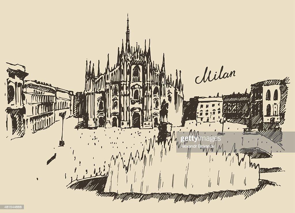 Milan Cathedral Duomo di Milano Italy hand drawn