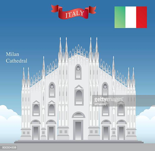 milan cathedral - milan stock illustrations, clip art, cartoons, & icons