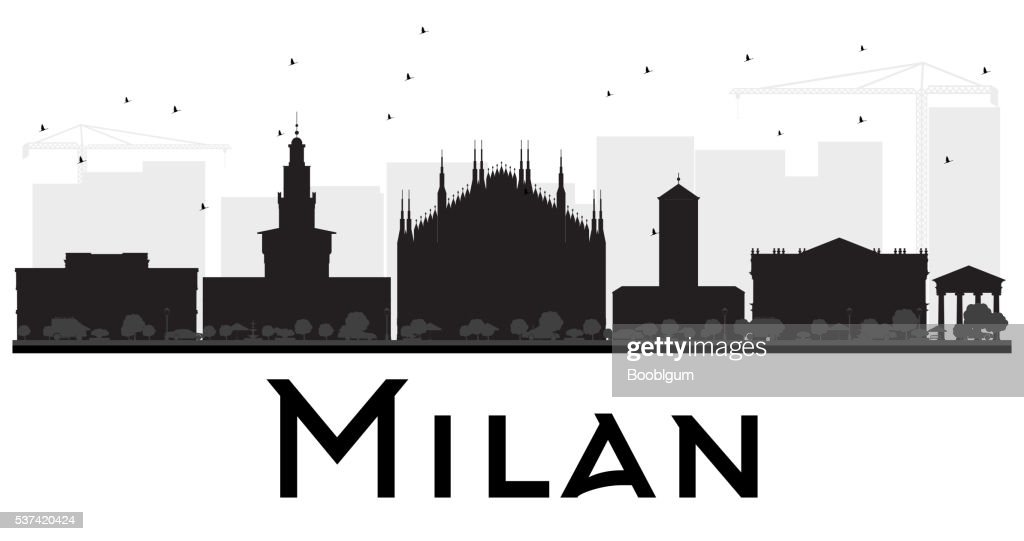 Milan City skyline black and white silhouette.