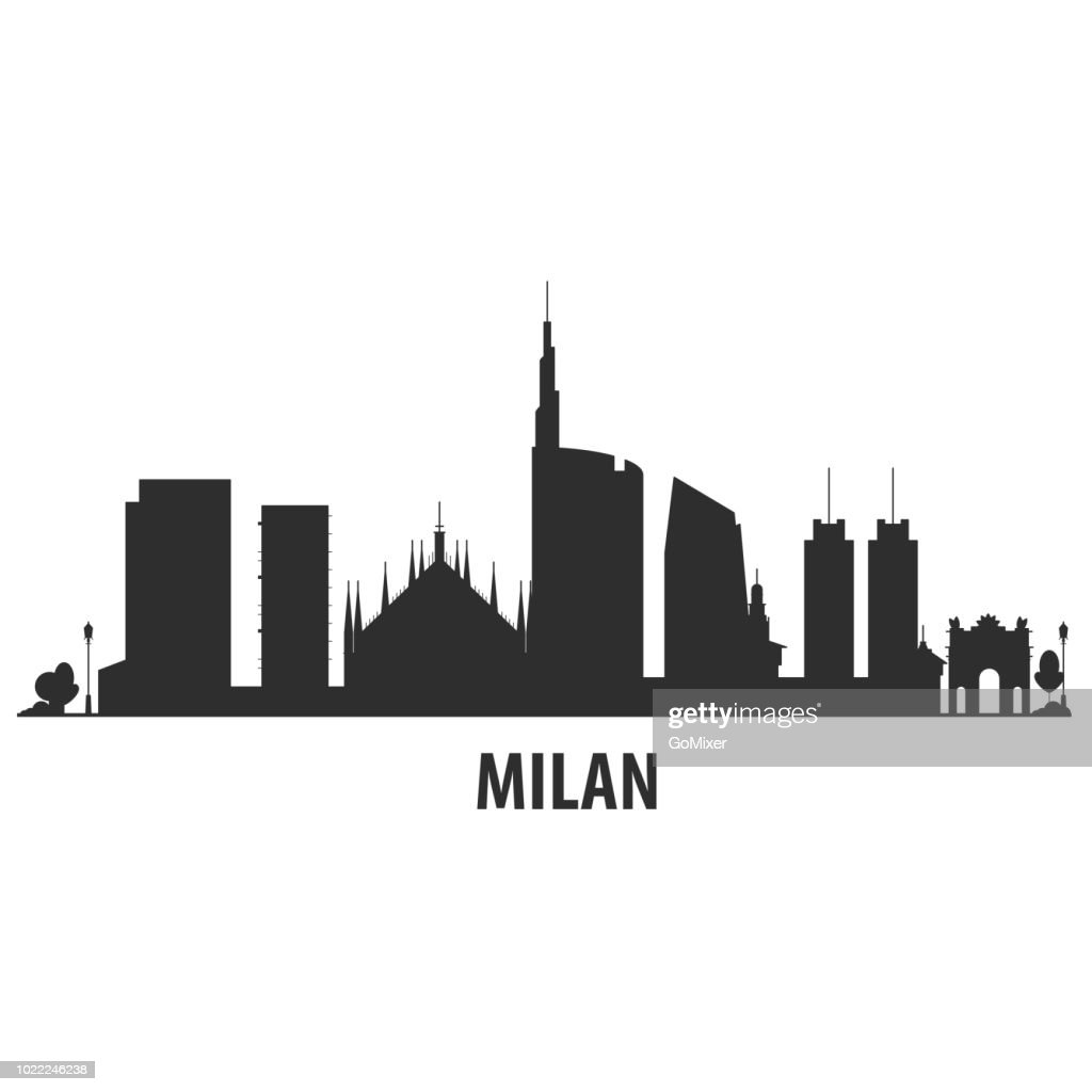Milan city skyline - cityscape silhouette with landmarks