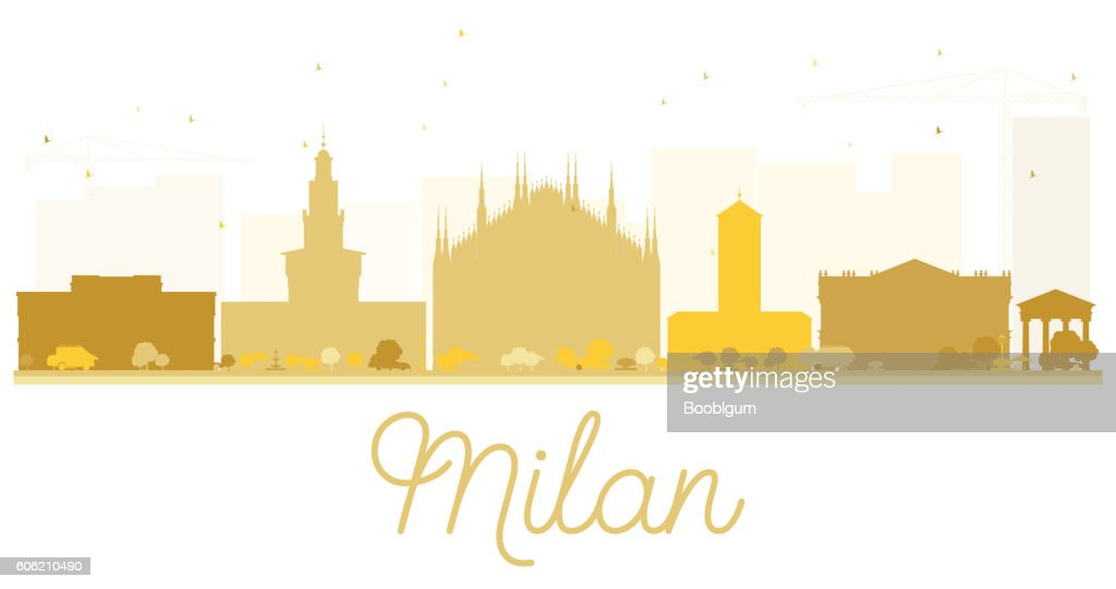 Milan City skyline golden silhouette.