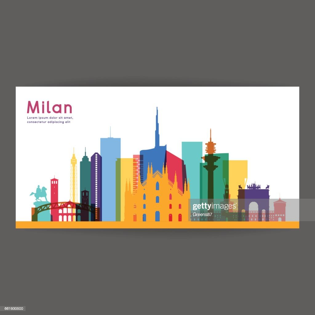 Milan colorful architecture vector illustration