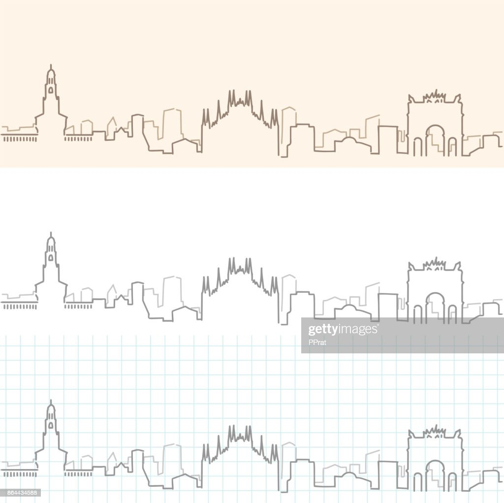Milan Hand Drawn Skyline