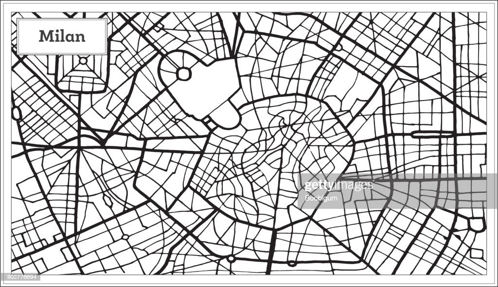 Milan Italy City Map in Black and White Color.