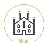 Milan, Italy Vector Line Icon