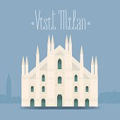 Milan, Milano cathedral vector illustration, design element, background