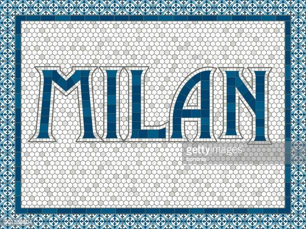 milan old fashioned mosaic tile typography - milan stock illustrations, clip art, cartoons, & icons