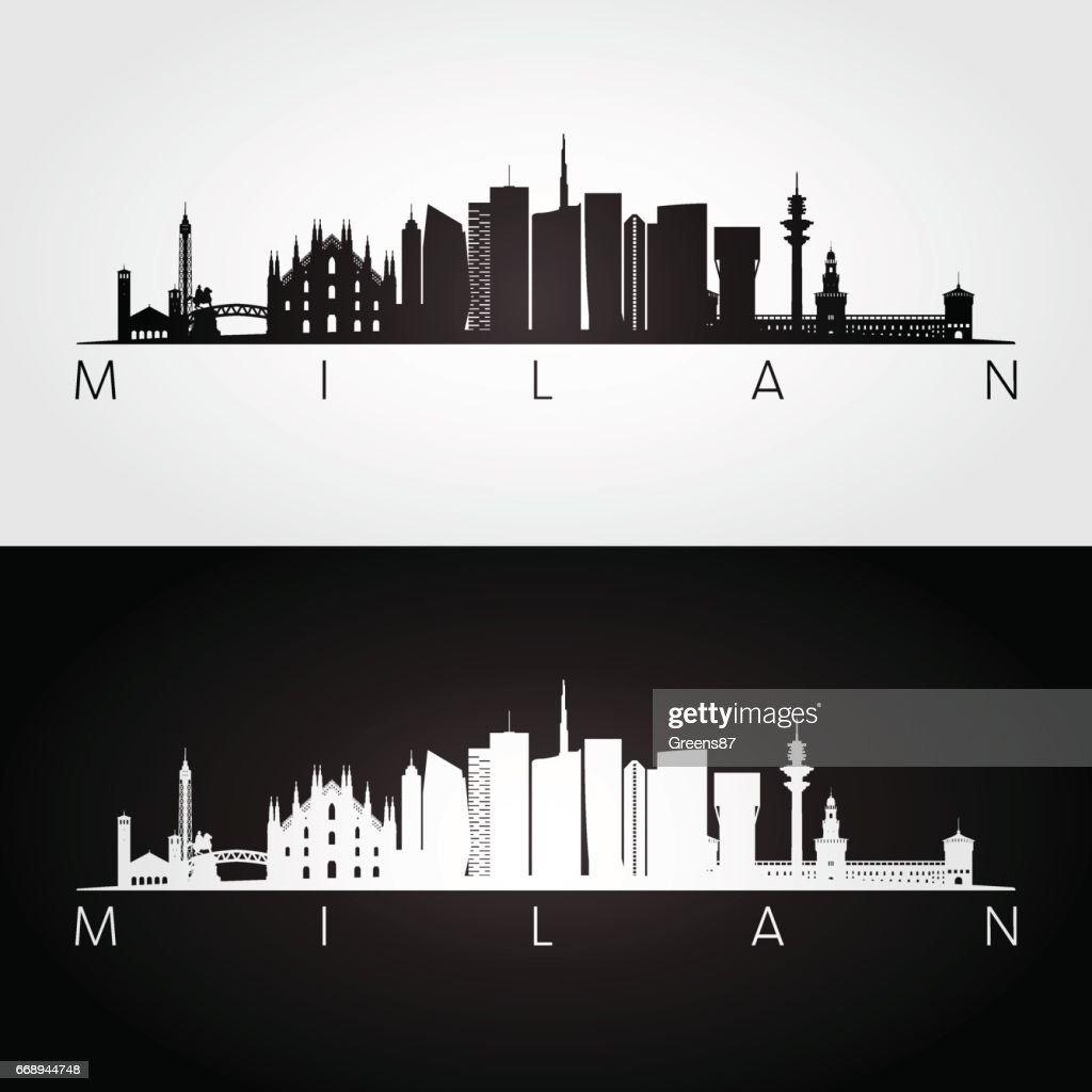 Milan skyline and landmarks silhouette.