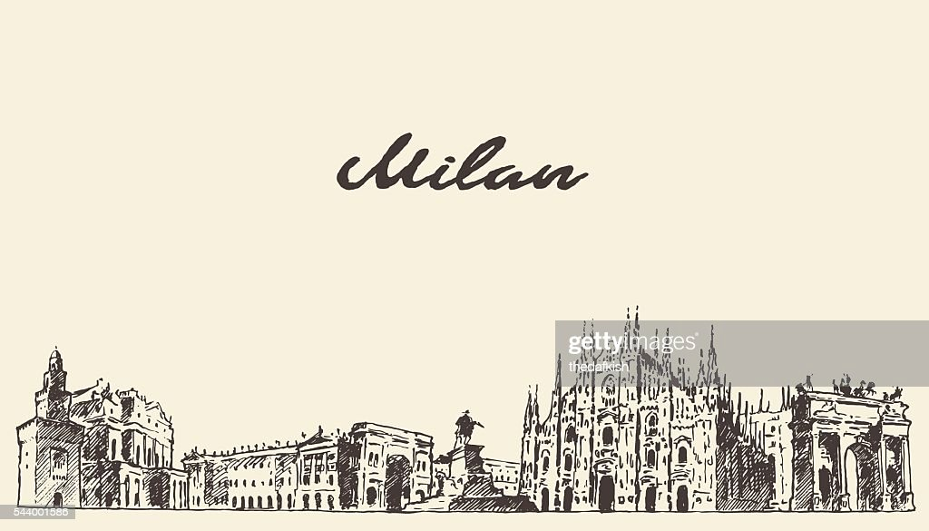Milan skyline Italy vector hand drawn sketch