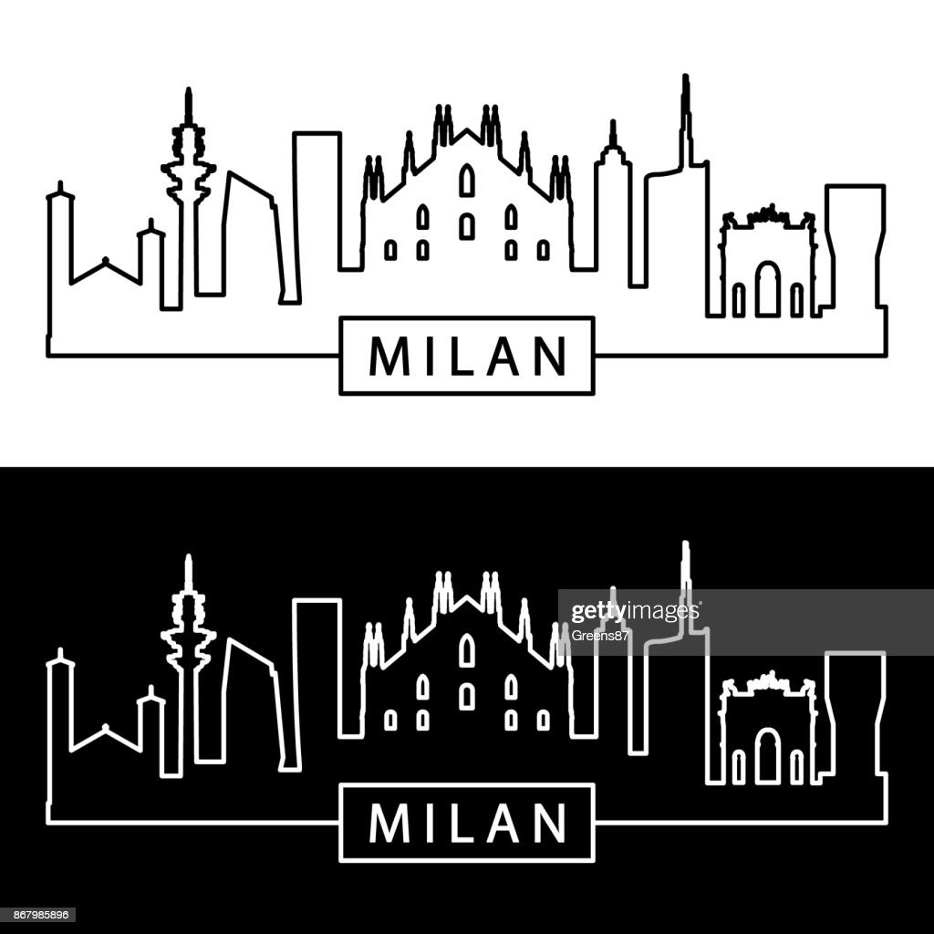 Milan skyline. Linear style. Editable vector file.