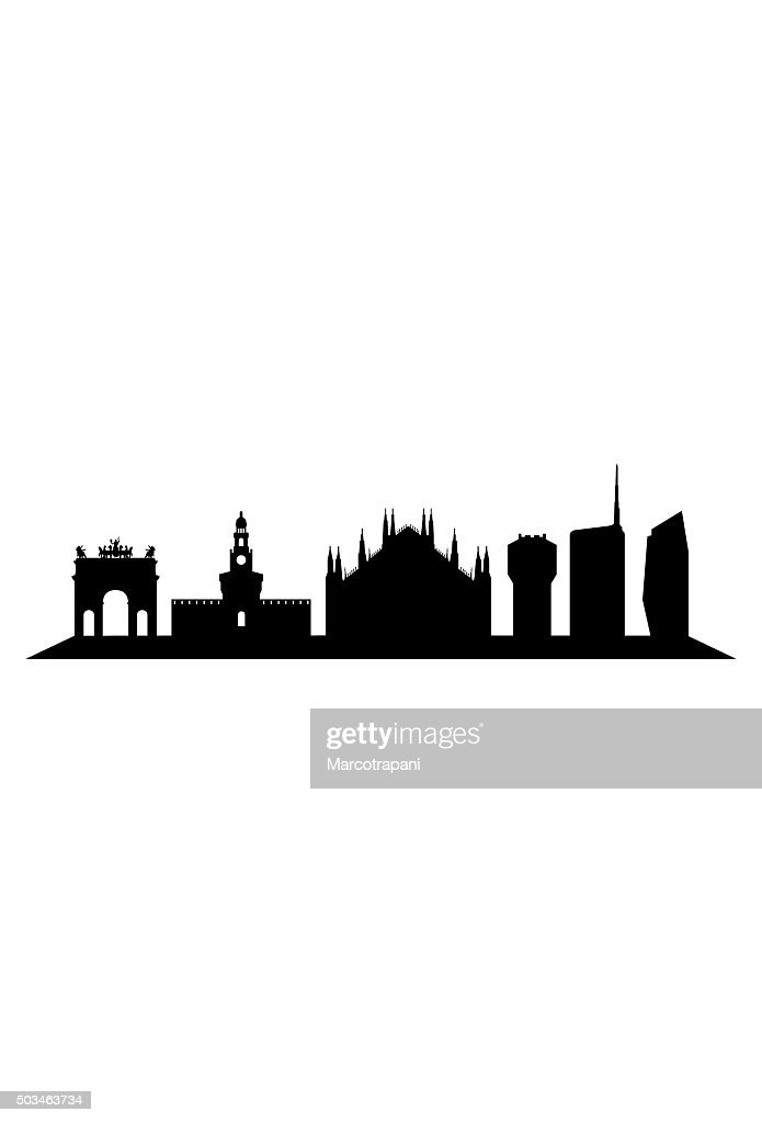 milan skyline on a white background