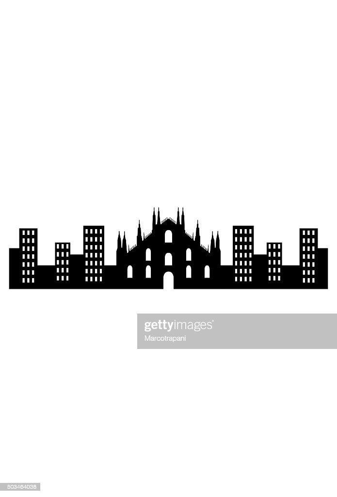 milan skyline on a white background