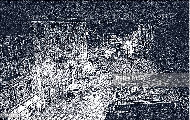 milan street at night - milan stock illustrations, clip art, cartoons, & icons
