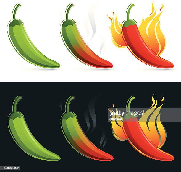mild, medium and hot chili peppers - red chili pepper stock illustrations, clip art, cartoons, & icons