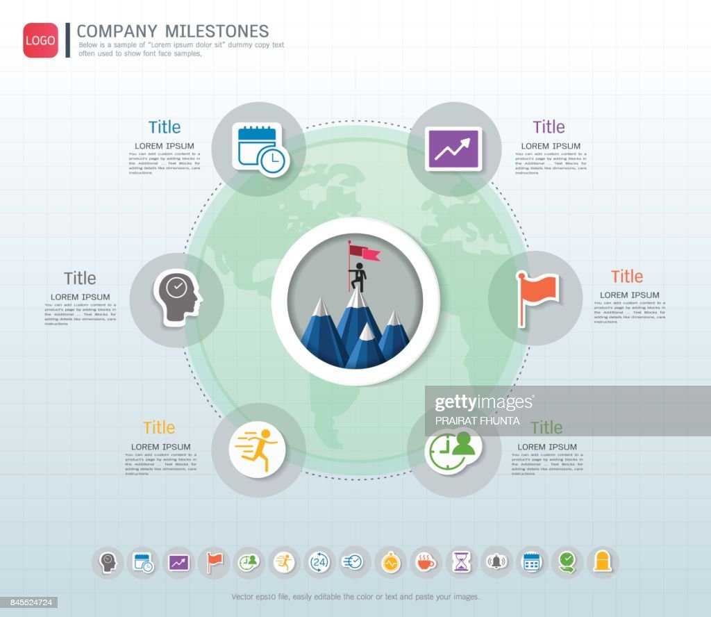 Milestone timeline infographic with icons set, Road map or strategic plan to define company values, Used milestone for scheduling in project management to mark specific points along a project timeline