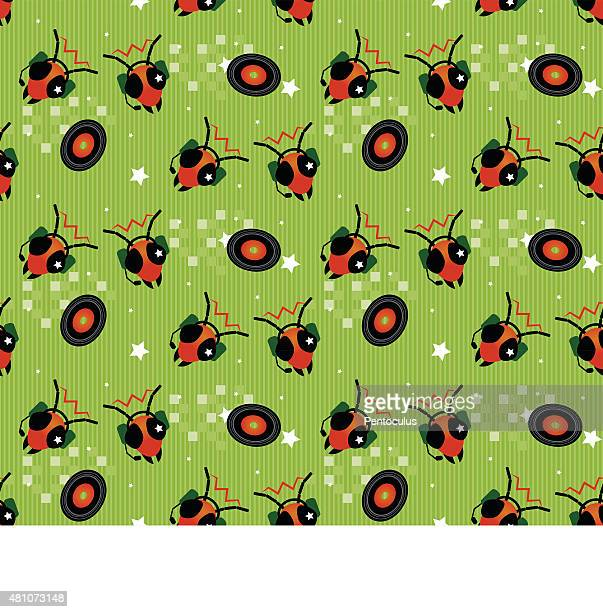 militant alien ant enjoys music seamless - arts culture et spectacles stock illustrations