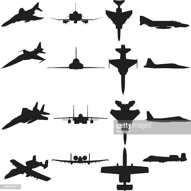 Military Aircraft Silhouette Collection (vector+jpg)
