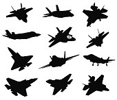 12 Military aircrafts set