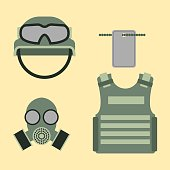 Military american fighter ammunition navy camouflage sign and weapon guns symbols armor set forces design vector illustration