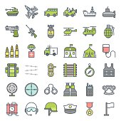 Military and weapons filled outline icon