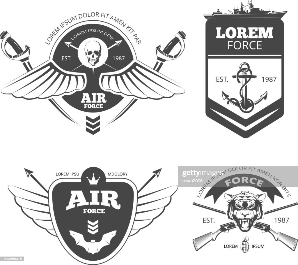 Military, armored vehicles, airforce, navy vintage vector labels