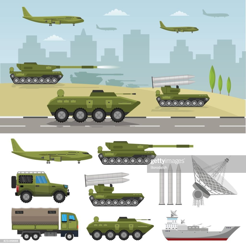 Military army big set of base infographics background