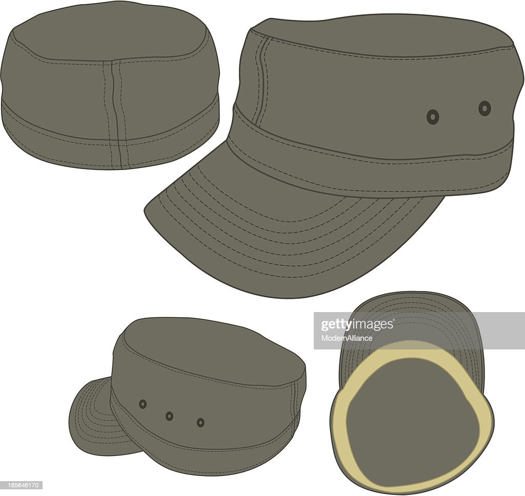 Military Army Cadet Fitted Hat Template stock illustration