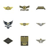 Military badge icons set, flat style