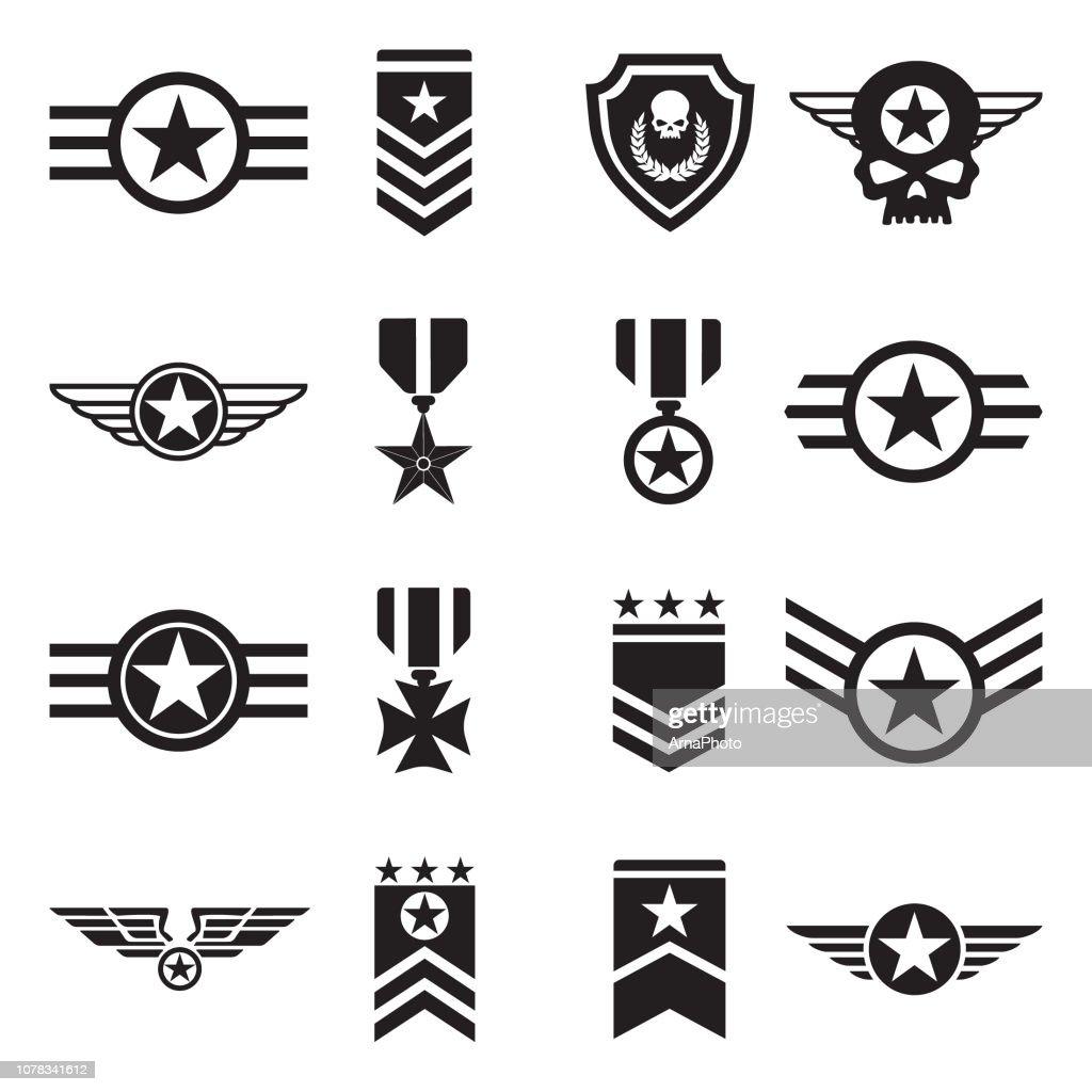Military Badges Icons. Black Flat Design. Vector Illustration.
