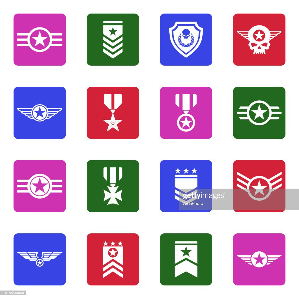 Military Badges Icons. White Flat Design In Square. Vector Illustration.
