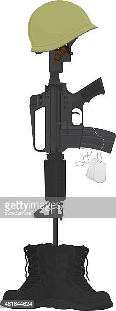 Armée lutte Cross, casque et Machine Gun