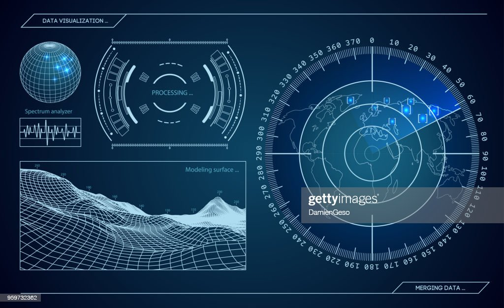 Military blue radar. Screen with target. Futuristic HUD interface. Stock vector illustration