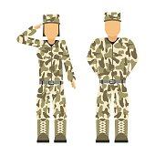 Military character weapon symbols armor man silhouette forces design and american woman fighter ammunition navy camouflage sign vector illustration